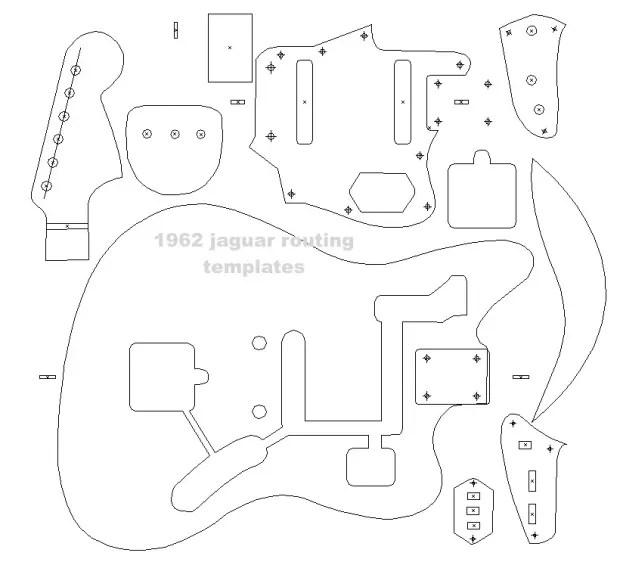 Fender '62 Jaguar blueprint ,routing template, guitar body