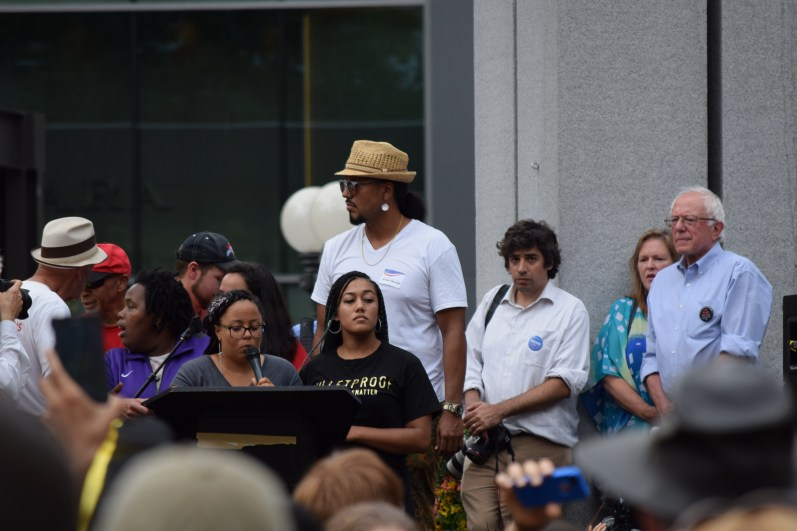 Black Lives Matter representatives speaking at Westlake Park rally