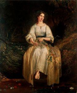 Ophelia weaving garlands