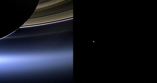 Ces images montrent des vues de la Terre et la lune par CASSINI (à gauche) et MESSENGER (à droite) le 19 Juillet 2013.  Crédit : NASA / JPL-Caltech / Space Science Institute et de la NASA / Johns Hopkins University Applied Physics Laboratory / Carnegie Institution of Washington