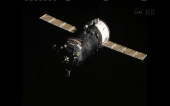 Le Progress en route vers l'ISS (source NASA TV)