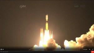 Capture d'écran du lancement de la fusée H-IIB avec l'HTV 4 à son bord