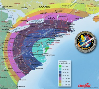 Minotaur launch visibility map-Orbital Sciences