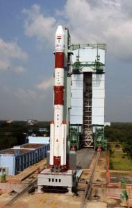 le lanceur PSLV-25C lors de la répétition chrono, hors de son portique de protection