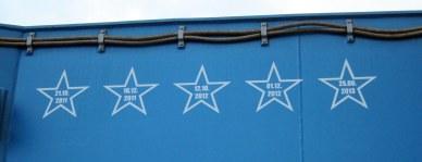 Les tirs précédents de Soyouz à Kourou indiqué sur le chariot de roulage ezt de levage du Soyouz