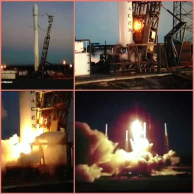 Le lancement de Falcon 9- SES6 (photomontage via @BenedicteN317)