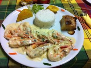 "Crevettes au ""Number Vier"", restaurant surinamien"