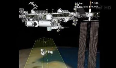 Représentation de la Phase finale d'approche du Cygnus (source NASA TV)