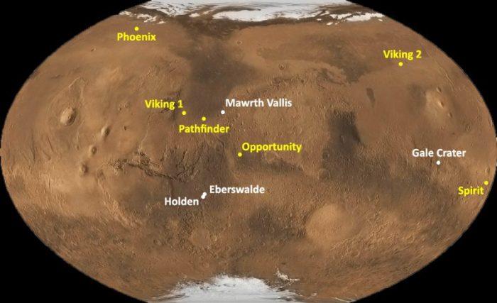 Site d'atterrissage des 7 engins spatiaux s'étant posé sur Mars [pour Curiority : Gale crater] (source www.science-et-vie.com/)
