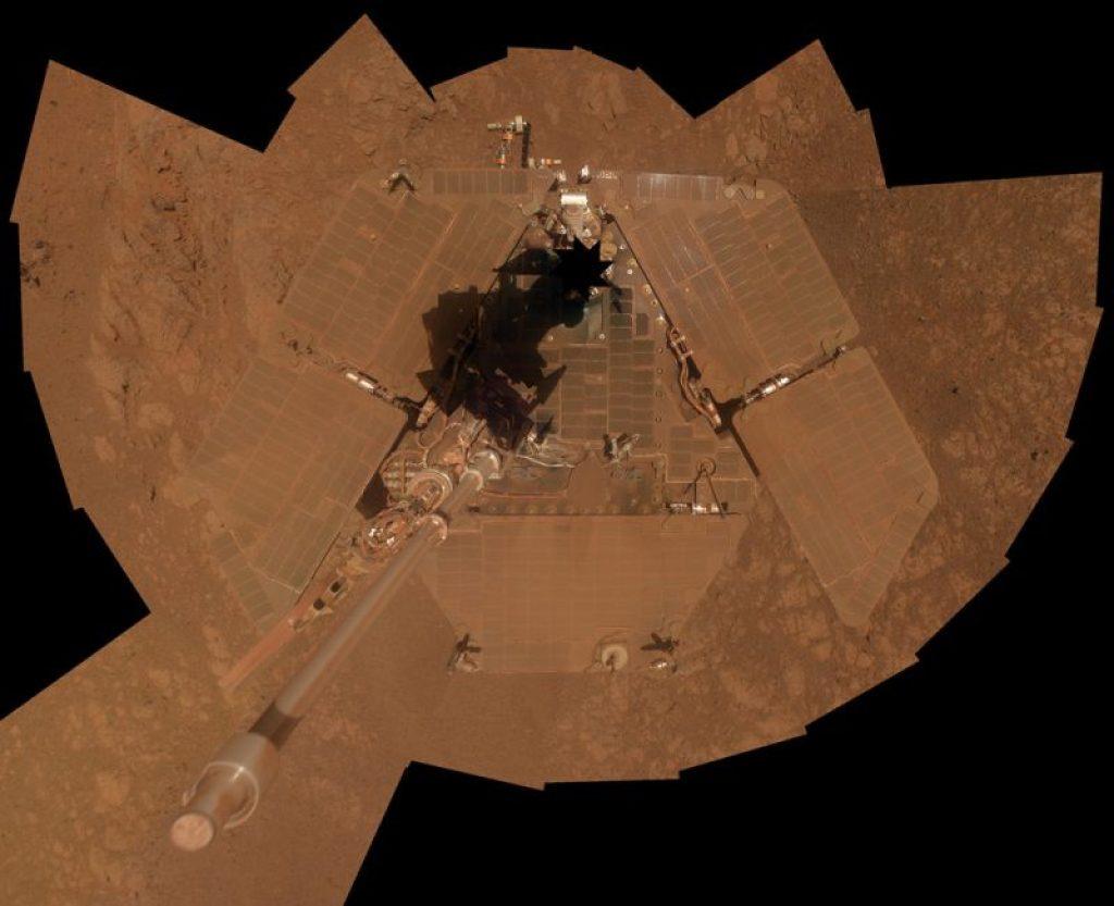 Auto portrait d'Opportunity en janvier 2014 (source NASA)