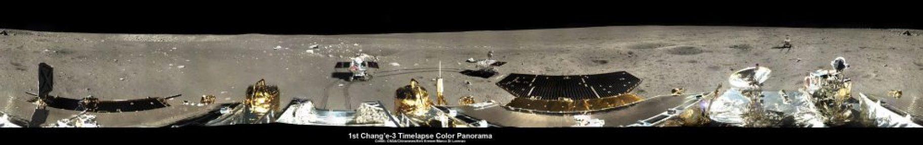Panorama de la Lune prise par l'aterrisseur Chang'e-3 (source : CNSA, Chinanews, Kenneth Kremer & Marco Di Lorenzo)