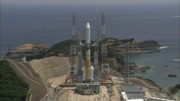 La fusée H-IIA emportant GPM sur son pas de tir (Photo: JAXA)