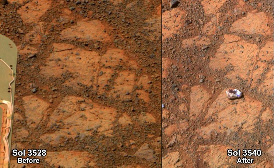 Comparaison d'images  prises par Opportunity dans un intervalle de 13 jours  (crédit: NASA/JPL-Caltech/Cornell Univ./Arizona State Univ.)