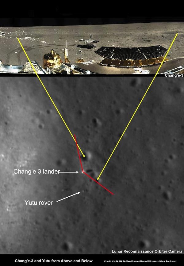 Image montrant l'atterrisseur Chang'e 3 sur la Lune et une image de Lunar Reconnaissance Orbiter de la NASA depuis l'orbite de la Lune. (Crédit: CNSA / NASA / Ken Kremer / Marco Di Lorenzo / Mark Robinson)