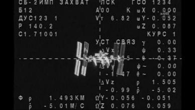 Le vaisseau Soyouz TMA-12 à environ 1,5 km de l'ISS (capture NASA TV)
