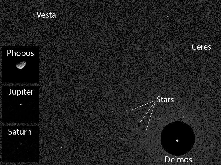 Image annotée de la photo prise par Curiosity le 20/04/14  (source NASA/JPL-Caltech/MSSS/Texas )A&M