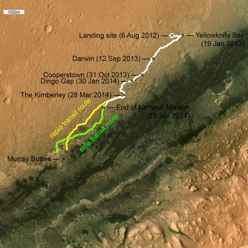 """Un aperçu des principaux points de repère le long de la route de Curiosity à ce jour. Les deux futurs chemins (vert, jaune) proposés sont basés sur les cartes de mission Curiosity produites par Fred Calef. La """"route de transit rapide"""" jaune était le plan de mission original, mais après que les roues aient commencé à être fortement endommagées, le plan de mission est sur un terrain sablonneux """"voie sûre de transit"""" (en vert) Murray Buttes marque le point où Curiosity sera en mesure de naviguer à travers le champ de dunes de sable basaltique et commencer à aborder les couches de roches, riches en argile pour lesquelles le site d'atterrissage de Curiosity a été sélectionné. (source planetary.org)"""