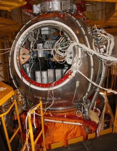 L'intérieur de la capsule préssurisée de FOTON-M4  (source Roscosmos)
