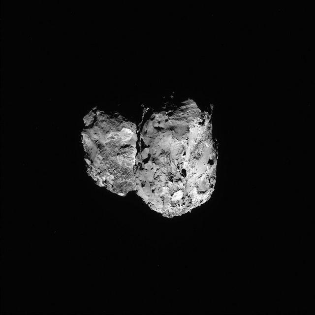Comète 67P le 6 Août par la caméra NAVCAM  depuis une distance d'environ 96 km de la comète. (Credits: ESA/Rosetta/NAVCAM)