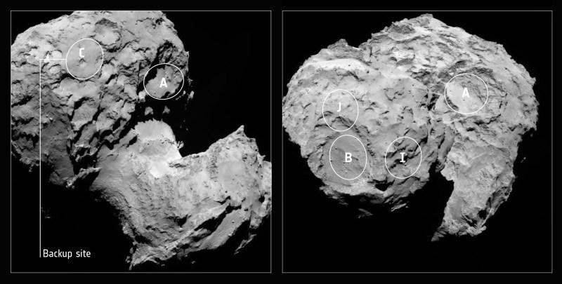 Image de la comète 67P/Churyumov-Gerasimenko avec les cinq sites candidats d'atterrissage pour le lander Philae de Rosetta, et avec le site C de remplacement indiqué. Les régions sont marquées sur des images de la caméra OSIRIS prises le 16 août d'une distance d'environ 100 kilomètres. (Credits: ESA/Rosetta/MPS for OSIRIS Team MPS/UPD/LAM/IAA/SSO/INTA/UPM/DASP/IDA)