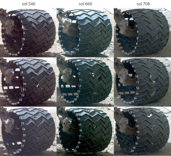 Dommages à la roue milieu-gauche de Curiosity, SOL 546, 660, et 708 (source NASA / JPL / Mahli / Emily Lakdawalla)