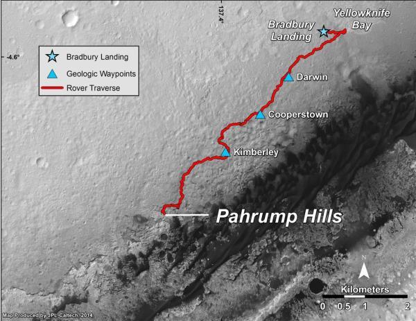 """Cette carte montre la route empruntée par Curiosity à partir de l'emplacement """"Bradbury Landing"""" où il a atterri en Août 2012 jusqu'à l'affleurement """"Pahrump Hills"""" où il a foré dans la partie la plus basse du mont Sharp. Le rover a atteint Pahrump Hills le 653e jour martien (ou SOL) le 19 septembre 2014. (Image Credit: NASA/JPL-Caltech/Univ. of Arizona)"""