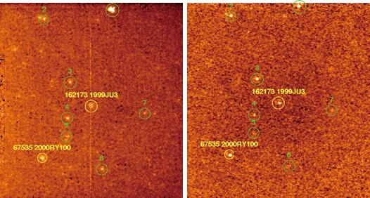 L'astéroïde 1999JU3 capturé par un télescope du JAXA ISAS Space Science et Technology Center en infrarouge (source ISAS)