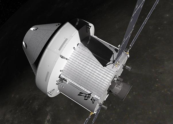 Vue de la capsule Orion, avec le module de service ESM (© NASA).