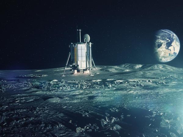 Vue d'artiste de l'atterrisseur à la surface de la Lune. Crédits : Lunar Missions Ltd