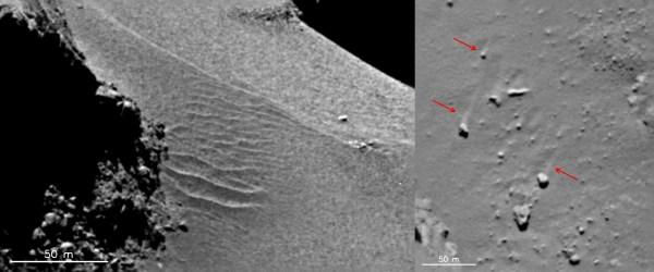 Images prises le 18 Septembre 2014 dans la région surnomée Hapi, sur la comète 67P. Crédit : ESA/Rosetta/MPS for OSIRIS Team MPS/UPD/LAM/IAA/SSO/INTA/UPM/DASP/IDA