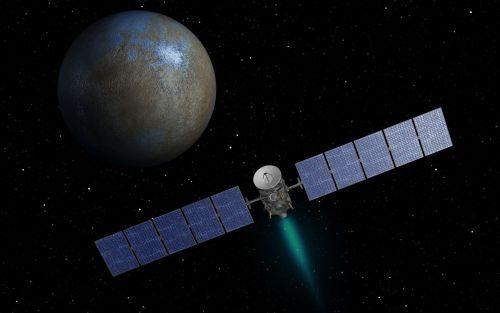 Vue d'artiste de la sonde Dawn arrivant sur la planète Cérèes (Image credit: NASA/JPL-Caltech)