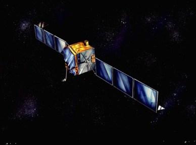 Vue d'artiste d'Inmarsat 2  en orbite (soruce Airbus DS)