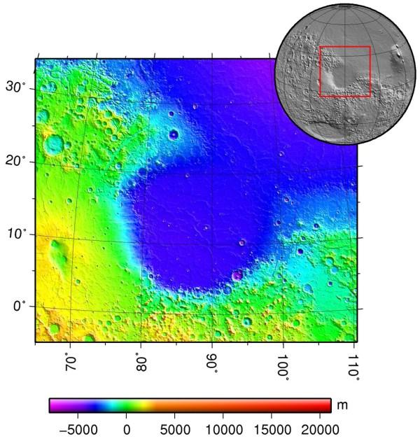Emplacement du cratère Isidis Planitia sur Mars.