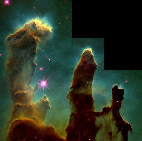 Ces colonnes qui ressemblent stalagmites sortant de l'étage d'une caverne colonnes sont en fait du gaz froid d'hydrogène interstellaire et de la poussière qui agissent comme incubateurs pour de nouvelles étoiles. (Crédit: Jeff Hester et Paul Scowen (Arizona State University), et NASA / ESA)