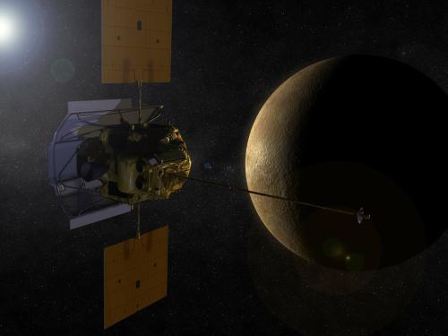 Image d'artiste montrant la sonde spatiale MESSENGER en orbite autour de Mercure. (Crédit: NASA)