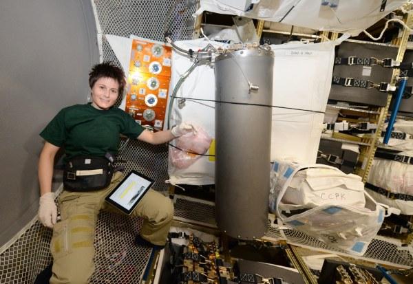 """Un réservoir de saumure pour l'ensemble de traitement d'urine Samantha Cristoforetti : """"Aujourd'hui, je me suis rendue dans l'ATV à nouveau. Cette fois j'ai pris avec moi un grand réservoir plein de saumure. Qu'est ce que la saumure ? Disons-le de cette façon: la saumure est ce qui reste quand nous avons fini de """"transformer le café d'hier dans le café de demain"""", comme l'astronaute Donald Pettit l'a dit fameusement""""  Crédits: ESA / NASA"""