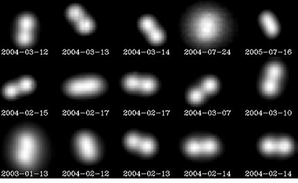 L'astéroïde double (90) Antiope et son compagnon S / 2000 (90) 1. Les deux objets sont séparés par 171 km, et ils exécutent leur danse céleste en 16,5 heures. Les observations d'optique adaptative n'ont pas pu résoudre la forme des composants individuels car ils sont trop petits. (Crédit: ESO)