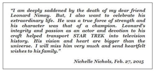 Nichelle Nichols, l'interprète deUhura, qui travaille à ce jour pour la NASA pour recruter des femmes et des minorités raciales