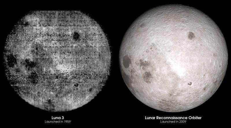 Comparaison côte à côte de la première photographie de la face cachée de la Lune par Luna 3, et une visualisation de la même vue en utilisant des données LRO. (Image credit : NASA's Goddard Space Flight Center Scientific Visualization Studio)