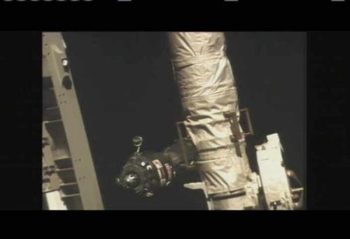 capture d'écran de NASA TV lors du docking du Soyuz TMA16-M