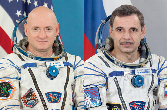 "Scott Kelly et Mikhaïl Kornienko, membres de la "" One Year Mission "". Crédits : NASA"