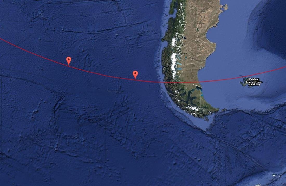 Zone de rentrée atmosphérique du Progress M-27M (crédits : Spaceflight101/Google Maps)