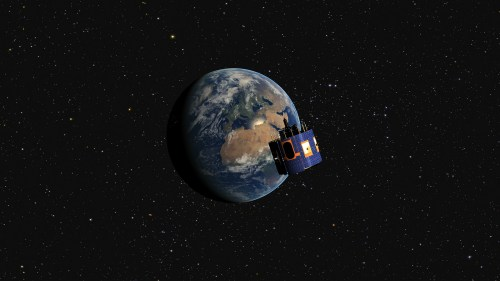 Vue d'artiste du satellite MSG-4 en orbite géostationnaire (© Eumetsat)