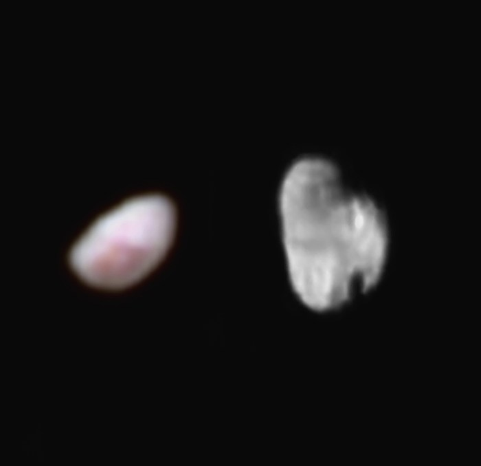 Images des lunes Nix et Hydra de Pluton prises par la sonde New Horizons le 14 juillet 2015  (Crédit images :  NASA / JHUAPL / SWRI)