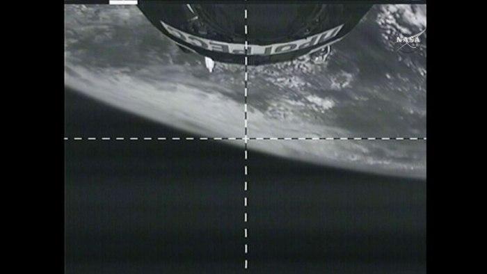Image de la Terre par le cargo Progress M28M en route vers l'ISS (Crédit: NASA TV)