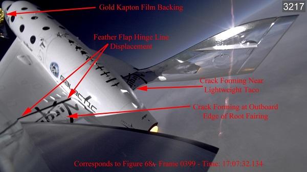 L'une des images issue des photos prises en vol lors de l'accident du SpaceShipTwo de Virgin Galactic le 31 octobre 2014, montrant l'apparition de fissures dans la structure de l'appareil, utilisée par la commission d'enquête du NTSB (Credit: Scaled Composites/NTSB)