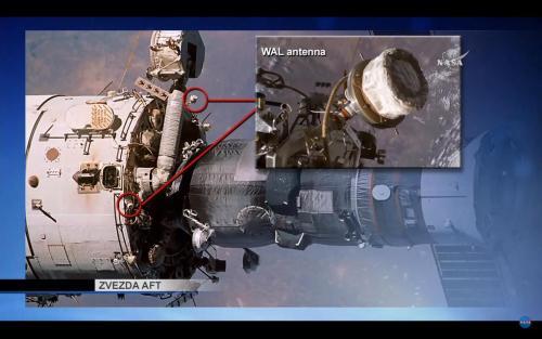 EVA 41 russe : installation d'attaches sur des antennes WAL prévues (soruce NASA)