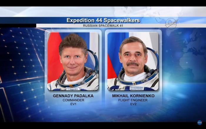 Les cosmonautes Gennady Padalka et Mikhaïl Kornienko vont effectuer une sortie spatiale le 10 aout 2015 (source NASA)