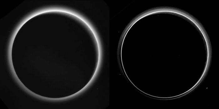 Deux versions différentes d'une image des couches de brume de Pluton, 16 heures après son survol de la planète naine, à une distance de 770 000 kilomètres. La version de gauche n'a eu qu'un traitement mineur, tandis que la version de droite a été spécialement traitée pour révéler un grand nombre de couches discrètes de brumes dans l'atmosphère (Crédits: NASA / Johns Hopkins University Applied Physics Laboratory / Southwest Research Institute)