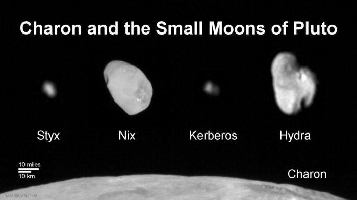 Les lunes de Pluton : Styx, Nix, Kerberos, et Hydra, au-dessus de la grande lune Charon, par la sonde New Horizons (Image Credit: NASA, Johns Hopkins U. APL, SwRI)